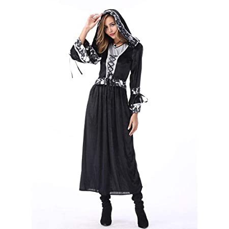CAGYMJ Dress Party Mujer Vestido,Cosplay Encapuchado Negro Muerte ...