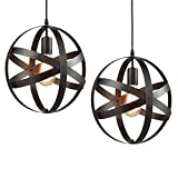 2-Pack Retro Vintage Metal Globe Pendant Light, MKLOT Modern Industrial Ecopower Spherical Pendant Lamp 11.81'' Wide Ceiling Lighting Hanging Fixture Chandelier use E26 Bulb with 1-Light