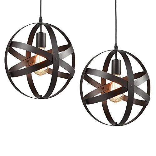 2-Pack Retro Vintage Metal Globe Pendant Light, MKLOT Modern Industrial Ecopower Spherical Pendant Lamp 11.81'' Wide Ceiling Lighting Hanging Fixture Chandelier use E26 Bulb with 1-Light by MKLOT