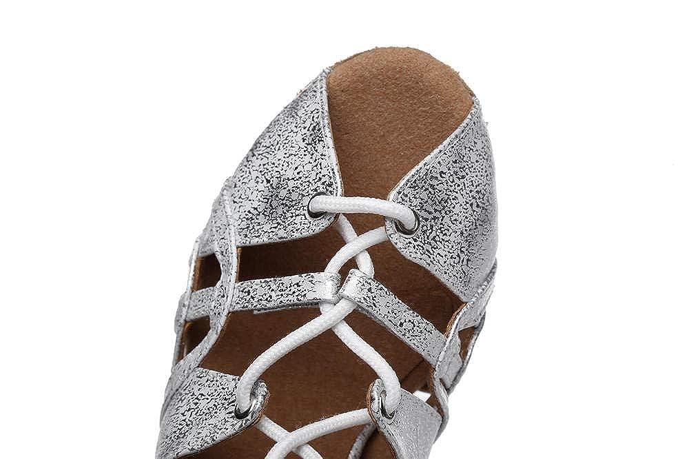 HCCY Zapatos de Baile Latino con Personalidad Plateada Zapatillas de Jazz con tac/ón bajo y Parte Inferior Interior para Mujer