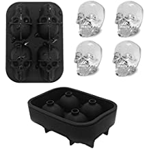 ABTP 2 Pack 3D Skull Ice Cube Chocolate Mold Soap Mold Silicone Ice Ball Maker BPA Free Novelty Skull Ice Trays for Cocktails Juice Beverages Beer Black