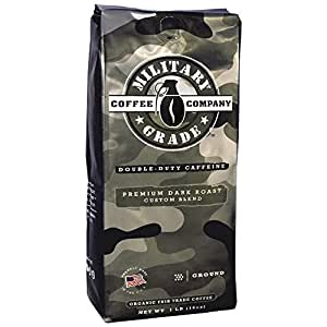 Military Grade Ground Coffee, The Strongest Coffee On The Planet, Organic Fair Trade -16 Oz. Bag