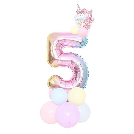 SHengyan Atractivo 1 Juego Unicornio Cumpleaños Globos 32 Inch Arcoiris Número Globo Fiesta Cumpleaños Decoración para Hogar Decoración - 32