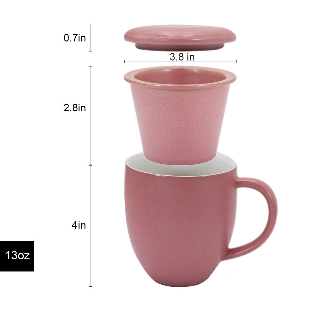 Sunddo Ceramic Tea Cup Pink Single Tea Infuser Mug Brewing Loose Cups with Coaster//Lid Coffee Mug Gifts for Women Men Tea Lovers 13 OZ
