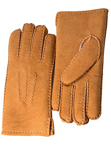 YISEVEN Women's Merino Rugged sheepskin Shearling Leather Gloves Three Points Soft Thick Furry Fur Lined Warm Heated Lining Cuffs for Winter Cold Weather Dress Driving Work Xmas Gifts, Camel Small (Full Shearling Lining)