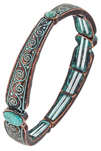 GlitZ Finery Swirl Detailed with Gemstone Accent Metal Stretch Bracelet (Patina)