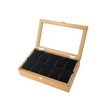 HKHJ Cajas para Reloj de Madera Estuche para Relojes Joyería Soporte de Exhibición de Relojes 10 Compartimentos,Brown: Amazon.es: Deportes y aire libre