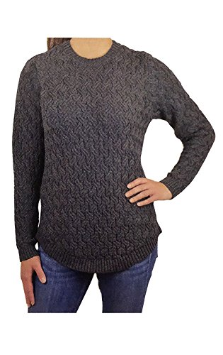 - Jeanne Pierre Women's Fisherman Cable-Knit Sweater (Charcoal Heather, X-Large)