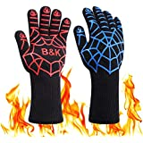 BBQ Gloves 932°F Heat Resistant Grilling Gloves,Non-Slip Kitchen Barbecue Mitts, 14 inch BBQ Oven Gloves for Cooking Baking
