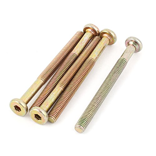 M6 x 70mm Threaded 1mm Pitch Hex Socket Head Cap Screws Bolts 5 Pcs (2 Inch Threaded Bronze)