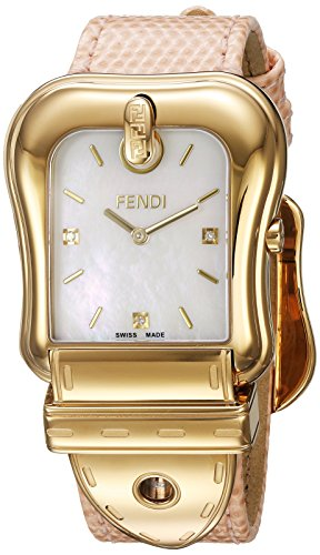 Fendi Women's 'B.' Swiss Quartz Stainless Steel and Leather Dress Watch, Color Pink (Model: F382414571D1)