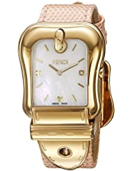 Fendi Womens B. Swiss Quartz Stainless Steel and Leather Dress Watch, Color:Pink (Model: F382414571D1)