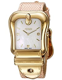 Fendi Women's 'B.' Swiss Quartz Stainless Steel and Leather Dress Watch, Color:Pink (Model: F382414571D1)