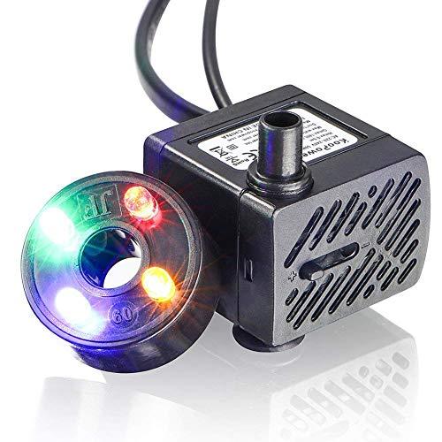DJLOOKK Filtro Acuario Esterilizador Bomba De Filtro Sumergible Mini Bomba De Agua con LED 350L / H 5W Acuario Pequeño,...