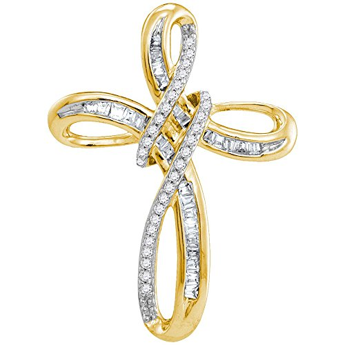Solid 10k White and Yellow Two Toned Gold Round Baguette White Diamond Channel Set Cross Pendant (1/4 cttw)