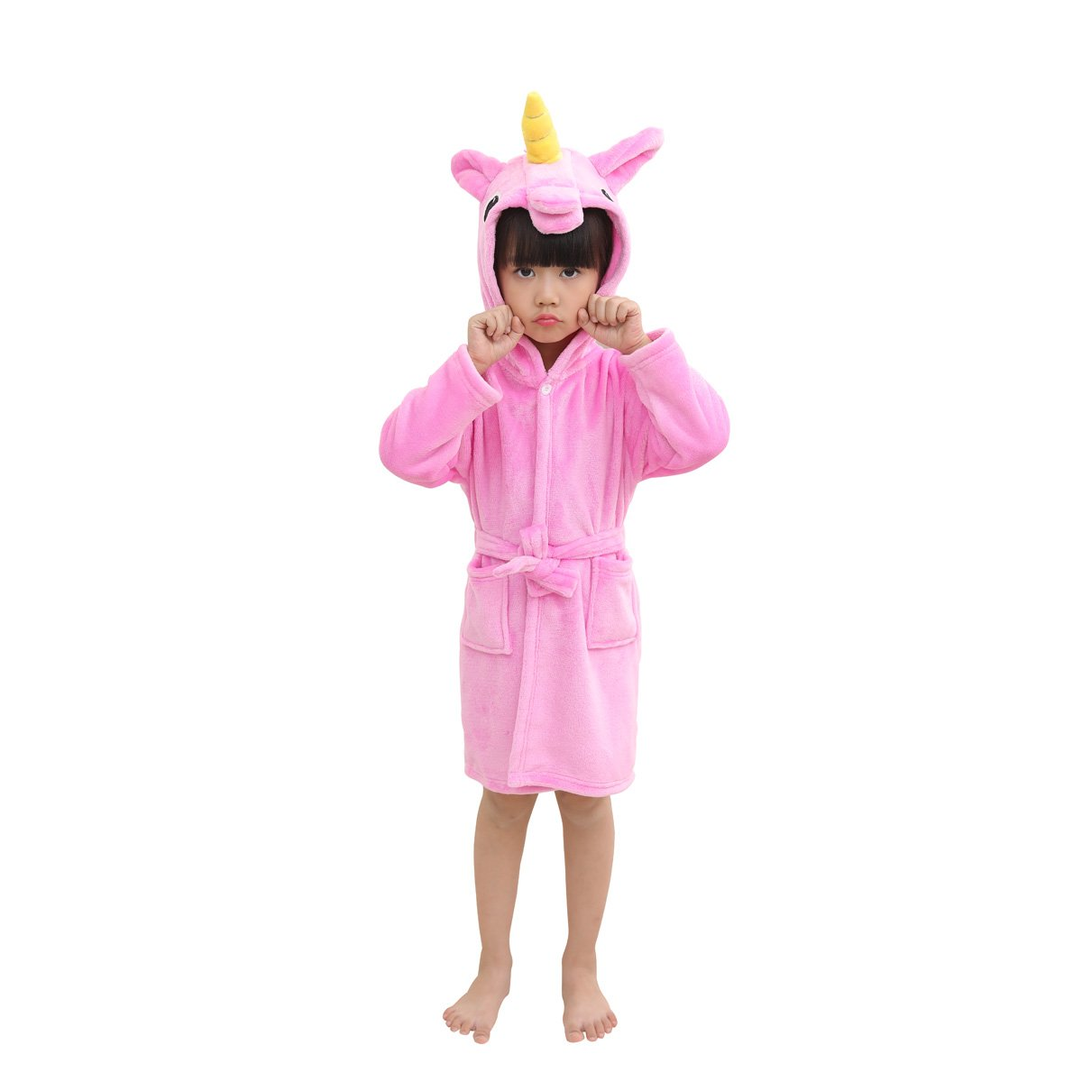 Toddlers/kids Unicorn Hooded Robe Soft Fleece Bathrobe Children's Pajamas Sleepwear FCTREE