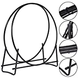 fireplace log tote with stand - 40-Inch Tubular Steel Log Hoop Firewood Storage Rack Holder Round Display New