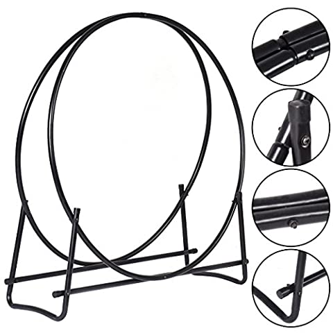 PROSPERLY U.S. Product 40-Inch Tubular Steel Log Hoop Firewood Storage Rack Holder Round Display (Cvs Hours)