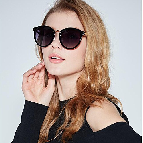 Elegante de UV Tide Korean Face Sol de Star Paragraph Gray Mujer Glasses Sol Round HLMMM gray Gradient Gafas Color Gafas Gradient BZwq4pz