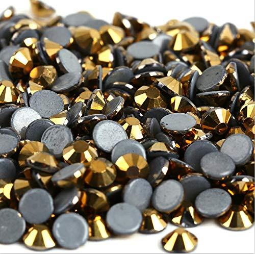 (1440 Pcs Hot Fix Rhinestones SS6-Crystal AB Hotfix Rhinestones for Crafts-AAAAA Hotfix Rhinestones for Clothes-Hotfix Iron On Rhinestones for Decoration-Rhinestones for Nail Art (Gold Hematite))