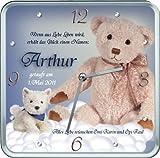 Taufgeschenk: Kinderuhr / Geburtsuhr / Taufuhr viereckig mit Teddy für Jungen - mit dem Namen Ihres Kindes und Ihrem Wunschtext