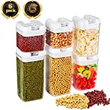 Food Storage Container with Lids Airtight Cereal Sealed Plastic Container Durable Transparent Keep Dry Fresh 6 Piece Set
