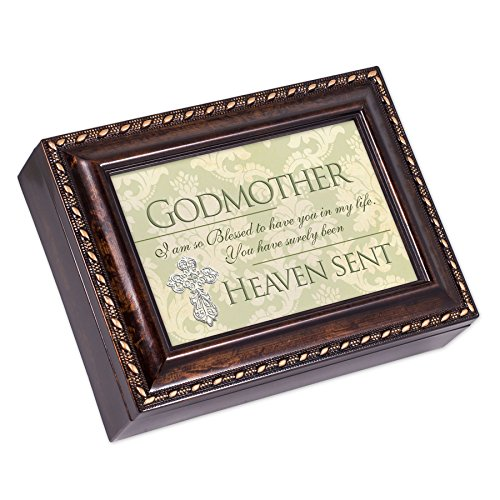 Cottage Garden Godmother Dark Burl Wood Finish with Gold Trim Jewelry Music Box - Plays Tune Pachelbel's Canon in D