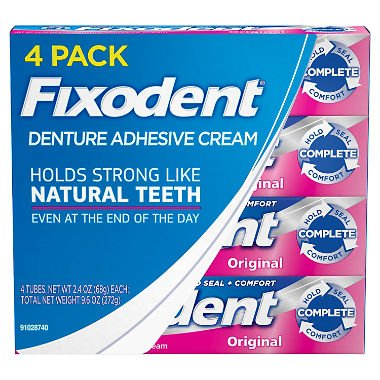 Fixodent Denture Adhesive Cream, Original 2.4 oz, 4 pk. (pack of 3) A1