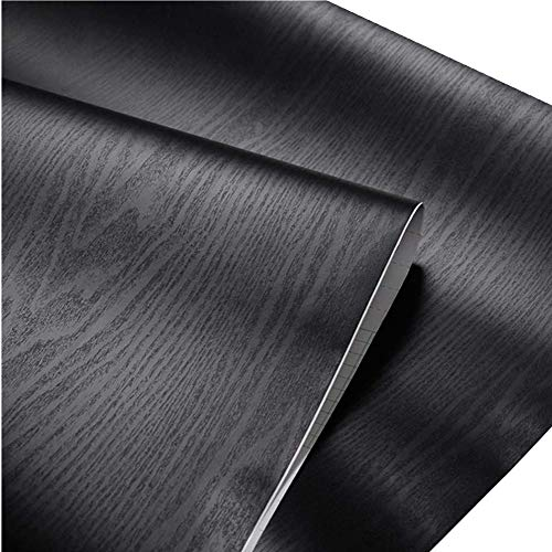 24' Wood Cabinet - Teemall Self Adhesive Black Wood Grain Furniture Stickers PVC Wallpaper cabinets Gloss Film Vinyl Counter Top Decal 24''x79''