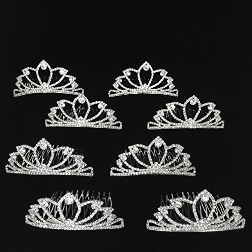 Princess Tea Party Favor 8-Piece Rhinestone Tiaras Complete with Built-In Comb (Disney Princess Pageant Dress)