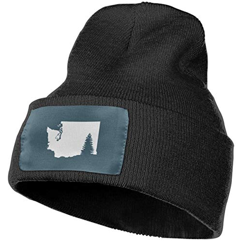 Nsjgu Washington State Tree Winter Warm Hats for Women Or Men Plain Cuff Winter Cap Black