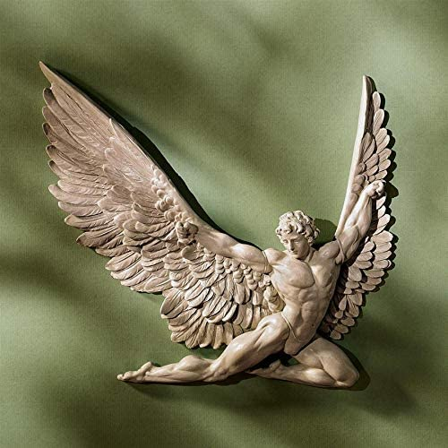 Design Toscano Icarus Winged Man Wall Sculpture, 11 Inch, Set of Two, Polyresin, Ancient Ivory