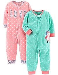 Baby Girls' 2-Pack Fleece Footless Pajamas