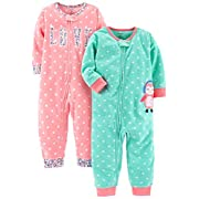Carter's Baby Girls' 2-Pack Fleece Footless Pajamas, Love/Owl, 12 Months