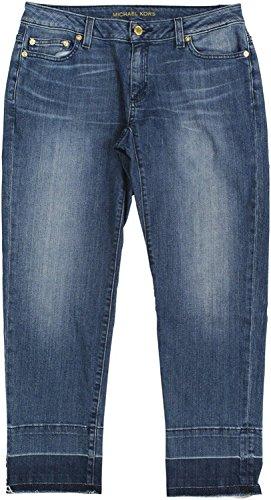 MICHAEL Michael Kors Womens Frayed Light Wash Straight Leg Jeans Denim - Light Blue Kors Michael