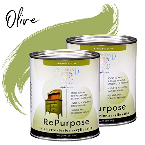 Majic Paints 8-9402-22 Diamond Hard Interior/Exterior Satin Paint, RePurpose your Furniture, Cabinets, Glass, Metal, Tile, Wood and More, Olive Green, 2-Quart ()