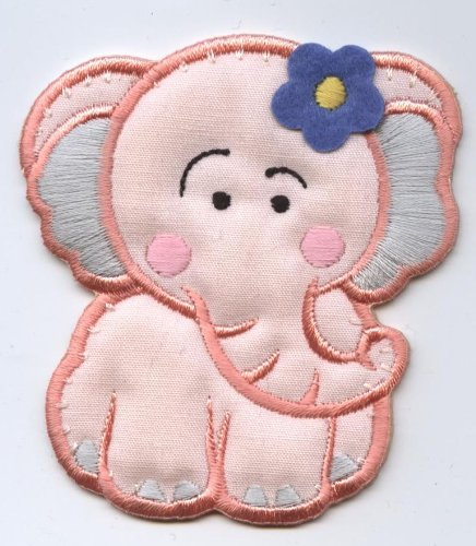 Childrens Pink Elephant Iron on Embroidered Applique Patch Iron Elephant