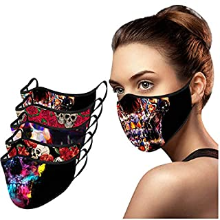 MALLOOM Halloween Masquerade 5pcs Women Cotton Face_Masks Washable for Cosplay Party, Cycling, Running (Halloween E)
