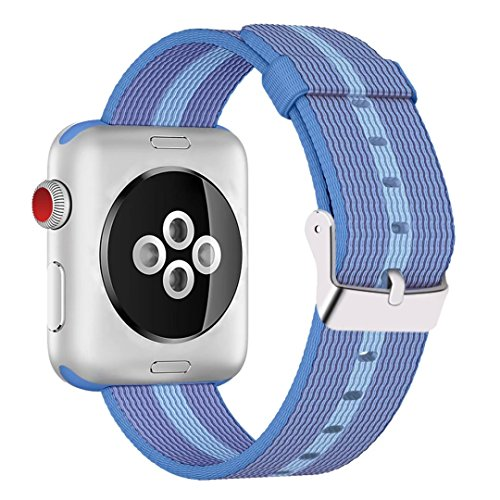 INTENY Woven Nylon Fabric Wrist Strap Replacement Band with Classic Square Stainless Steel Buckle Compatible for Apple iWatch Series 1/2/3,Sport & Edition,42mm,Tahoe Blue