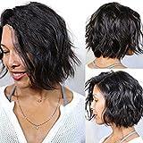 NiceToBuy Glueless Short Wavy Bob HairCut Brazilian Virgin Human Hair Lace Front Wigs for Women #1 Jet Black Color 10inch