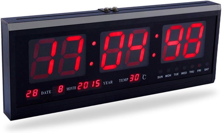 Yosoo Reloj Digital Grande LED con el Calendario la Fecha y la Temperatura Indicación Reloj de Escritorio (Rojo)