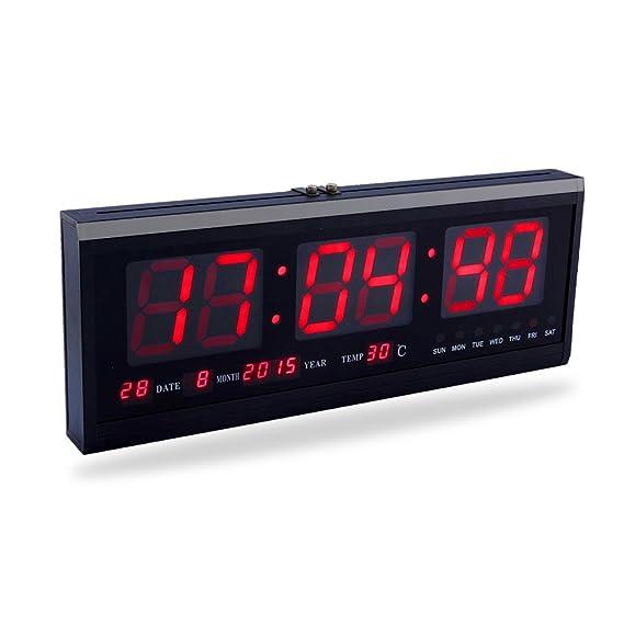 Yosoo Reloj Digital Grande LED con el Calendario la Fecha y la Temperatura Indicación Reloj de Escritorio (Rojo): Amazon.es: Hogar