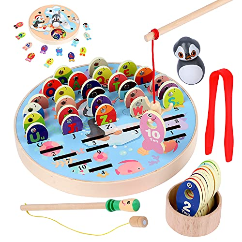 WODI Fishing Game Wooden Magnetic Toy for Preschool Educational, Alphabet Fish Sorting Puzzle, Fine Motor Skill Counting Games,Montessori Letters Cognition Gift for Kid Over 3 Years Old