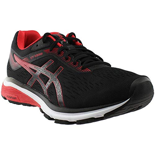 ASICS GT-1000 7 Shoe - Men's Running Black/Red Alert (Best Running Shoes For Overpronation And Wide Feet)