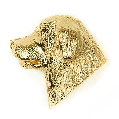 Newfoundland Head - NEWFOUNDLAND HEAD Made in U.K Artistic Style Dog Clutch Lapel Pin Collection 22ct Gold Plated