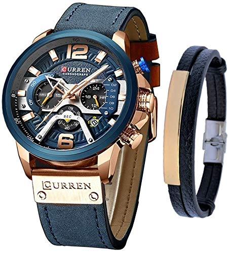 Luxury Watches for Men – Men's Leather Strap Chronograph Wrist Watch and Fashion Bracelet Set – Available Blue or Black – Military Design – Waterproof Analog Wristwatch Gifts