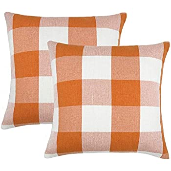 4TH Emotion Set of 2 Orange and White Buffalo Check Plaid Throw Pillow Covers Cushion Case Cotton Linen for Fall Farmhouse Home Decor, 18 x 18 Inches