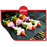 Quiseen BBQ Grill Mat - Set of 2 Mats - PFOA free, Thick, Durable, Non-Stick, Heat Resistant and Dishwasher Safe