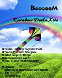 Booooom Rainbow Delta Kite for Kids and Adults Easy Flyer with String and Handle