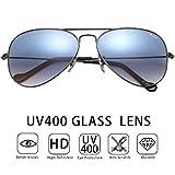 O-LET Aviator Sunglasses for Women Men Fishing Driving UV400 Glass Lens Aviators (55mm, Gunmetal/Blue)